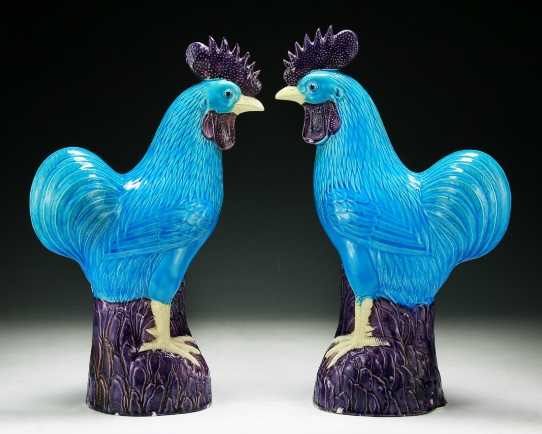 Pair of Chinese Antique Blue Glazed Porcelain Roosters