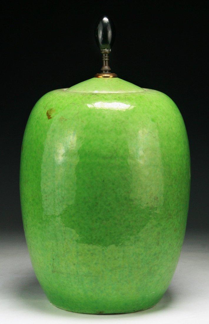 A Chinese Antique Green Lidded Porcelain Jar
