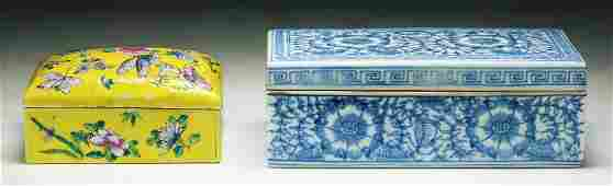 Two (2) Chinese Antique Porcelain Square Boxes