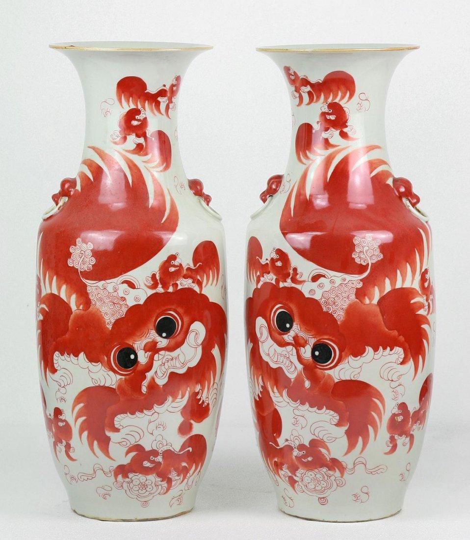 Pair Big Chinese Antique Iron Red Porcelain Vases