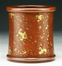 A Rare Chinese Antique Gold-Splashed Bronze Brush Pot