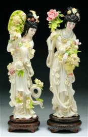 Two (2) Fine Chinese Antique Polychrome Ivory Beauties