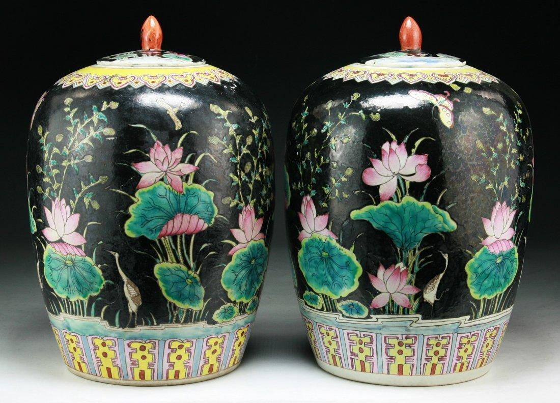Pair of Chinese Vintage Famille Verte Porcelain Jars