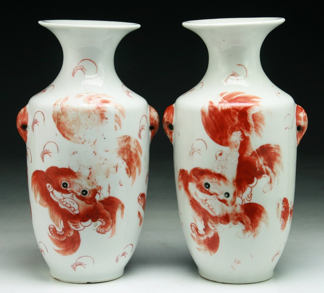 Pair of Chinese Antique Iron Red Porcelain Vases