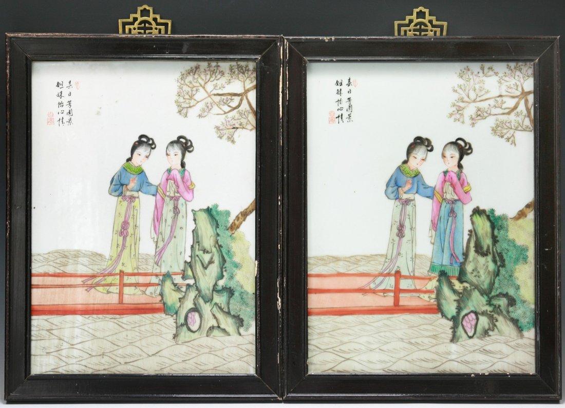 Pair Chinese Antique Framed Famille Rose Porcelain