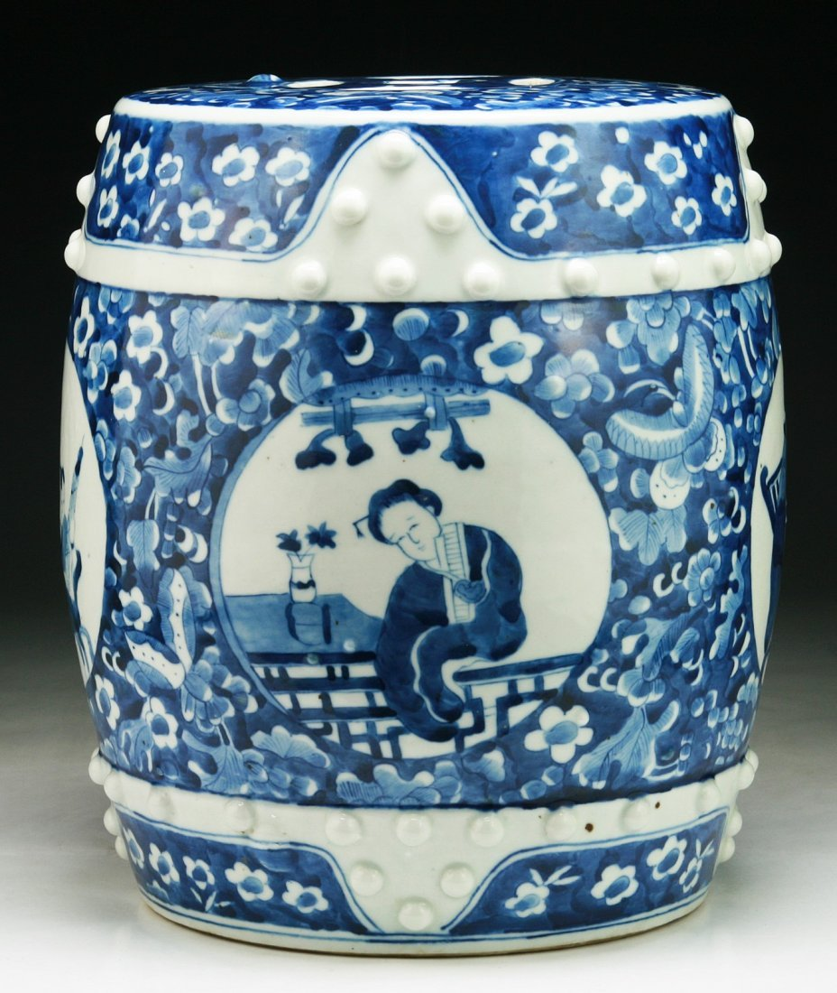 A Chinese Antique Blue & White Porcelain Stool