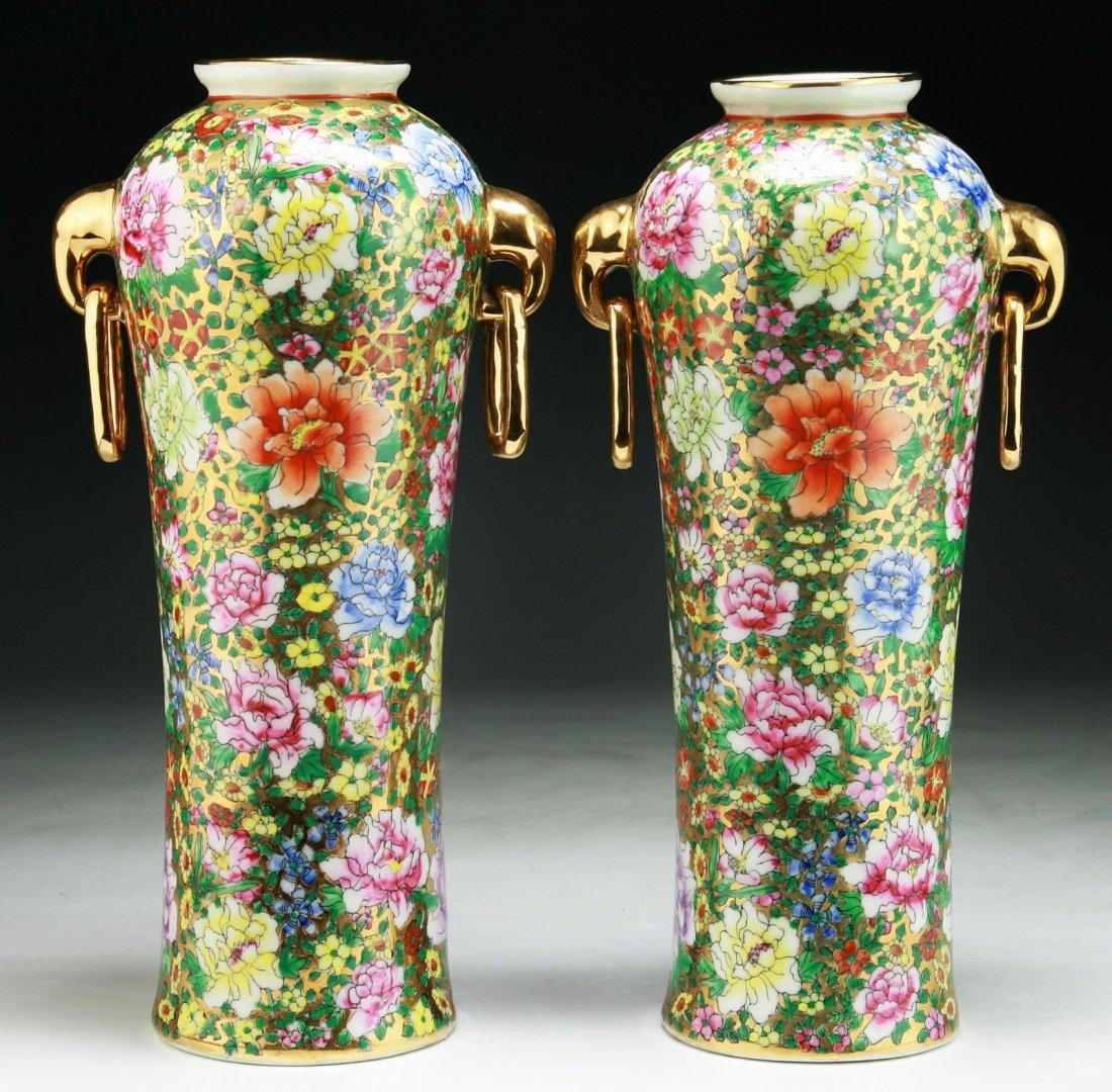 Pair Chinese Rose Medallion Porcelain Vases