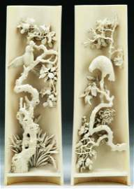 Pair Fine & Rare Chinese Antique Carved Ivory Armrests