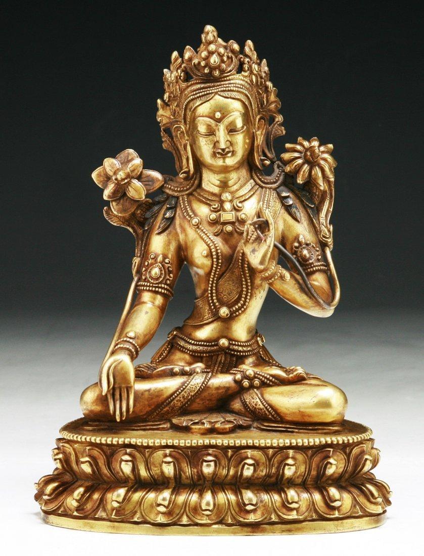 A Tibetan Antique Gilt Bronze White Tara