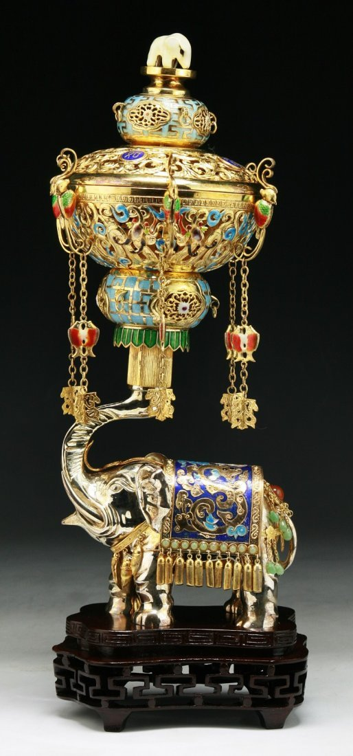 A Chinese Antique Jeweled Silver Cloisonne Censer