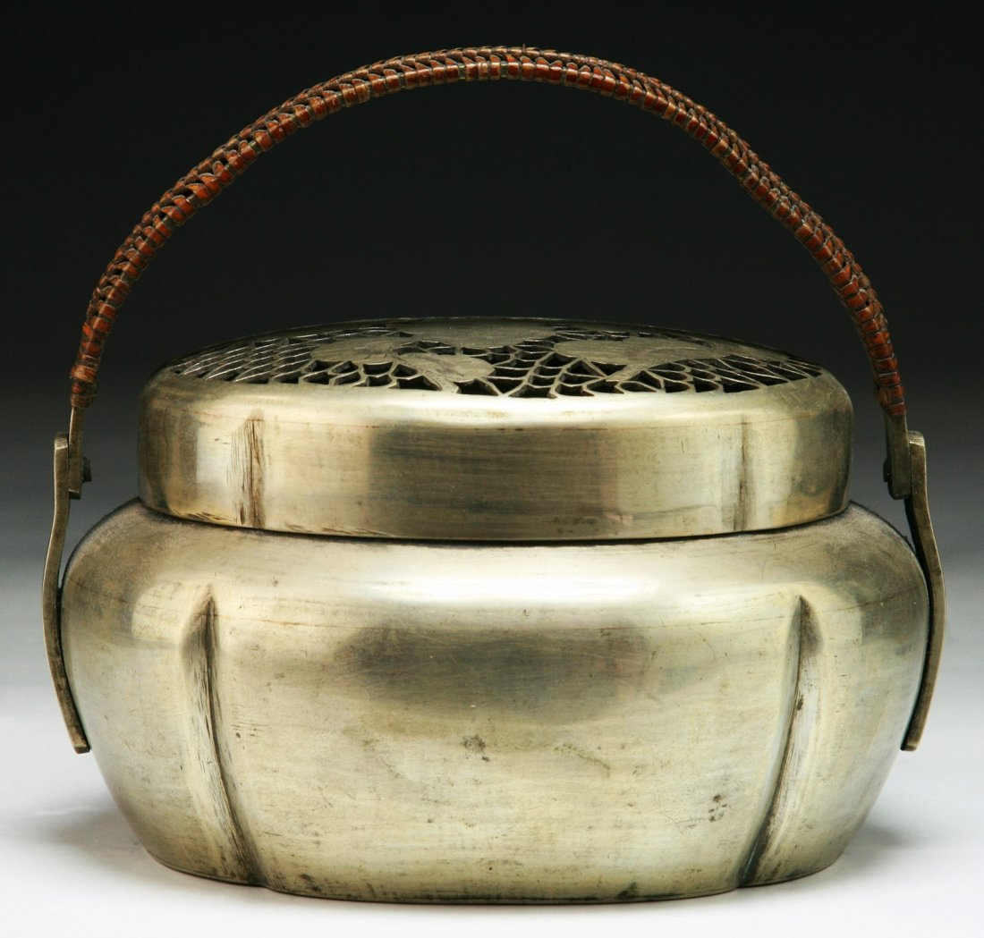 A Chinese Antique White Brass Paktong Hand Warmer