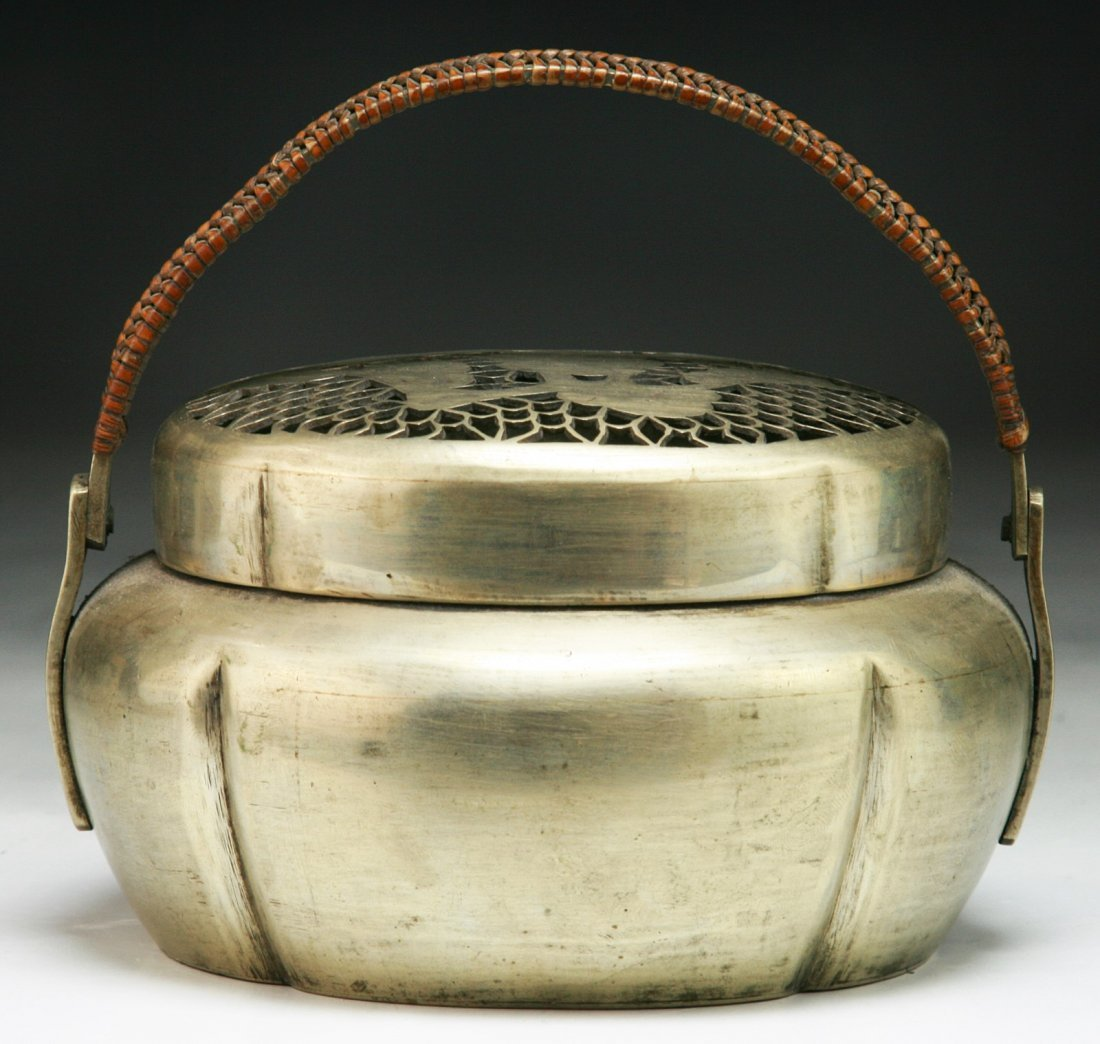 A Chinese Antique White Brass Paktong Hand Warmer - 2