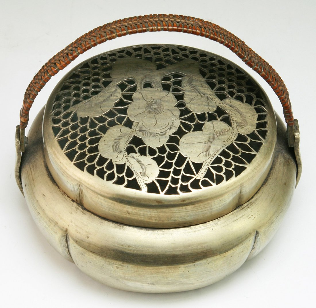 A Chinese Antique White Brass Paktong Hand Warmer - 3