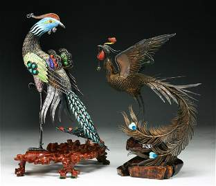 Two (2) Chinese Antique Jeweled Filigree Cloisonne
