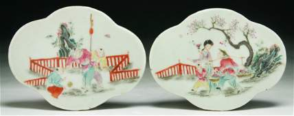 Two (2) Chinese Antique Famille Rose Porcelain Plaques