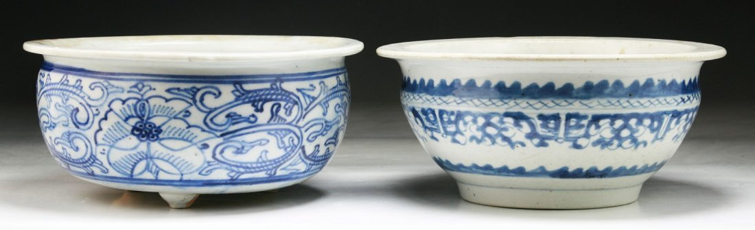 Two (2) Chinese Antique Blue & White Porcelain Bowls