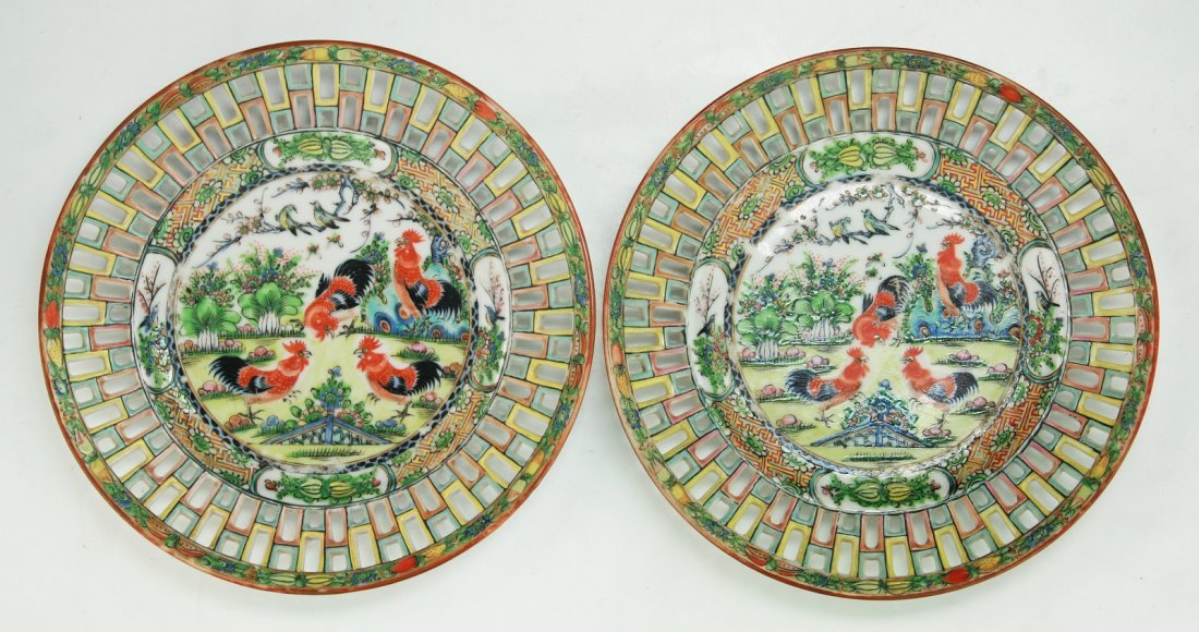 Pair of Chinese Antique Rose Medallion Porcelain Plates