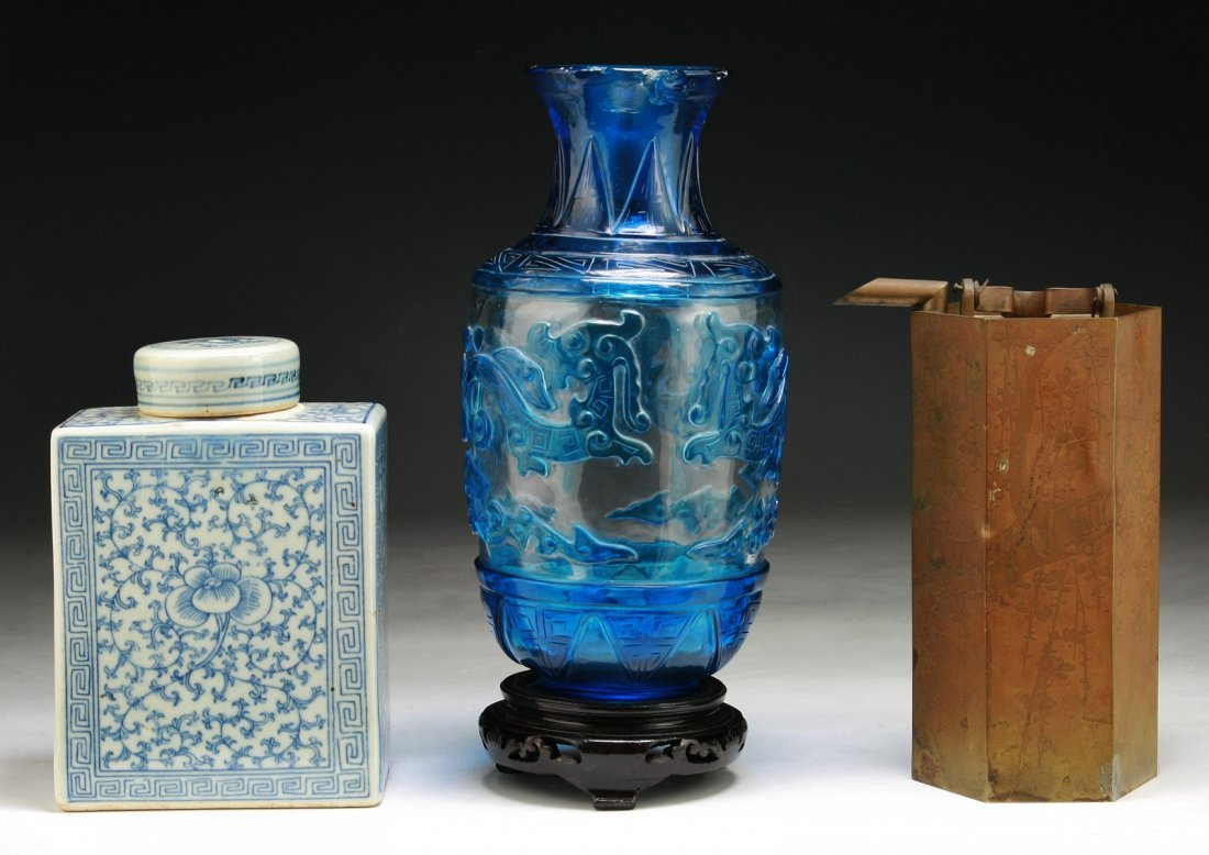 Three (3) Chinese Porcelain, Bronze & Glass Items