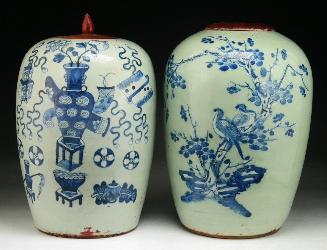 Pair Chinese Antique Blue & White Porcelain Jars