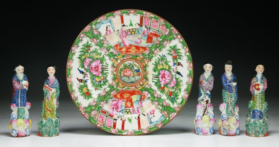 Six (6) Chinese Porcelain Figures & Rose Medallion