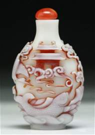 An Imperial Chinese Antique Overlay Peking Glass Snuff
