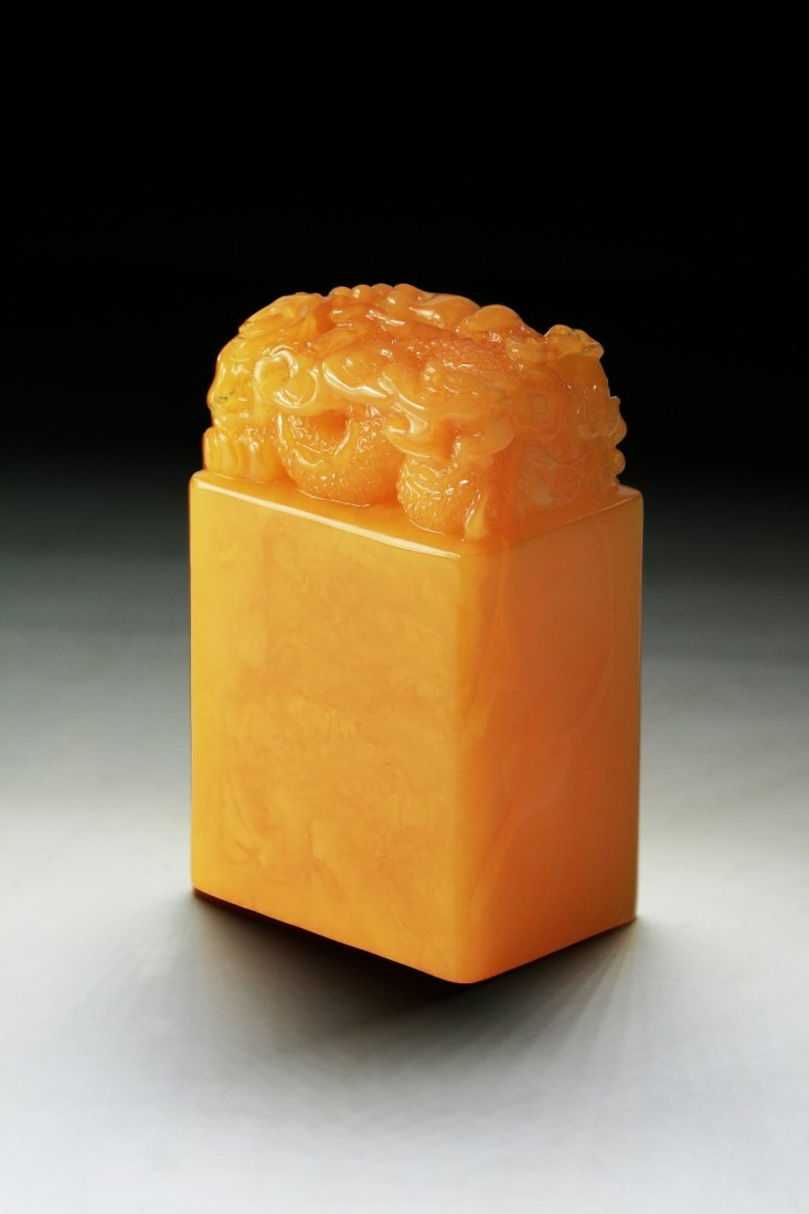 An Unusual Chinese Carved Baltic Amber MILA Seal