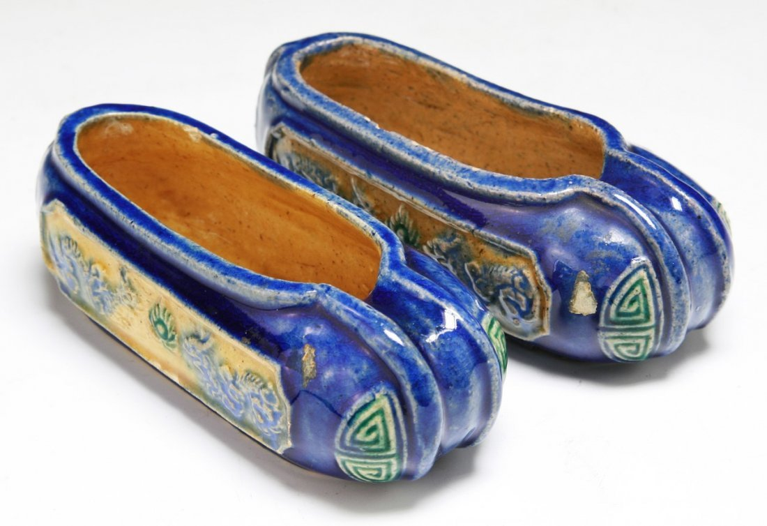 Pair Chinese Antique Shoe Shaped Water Droppers