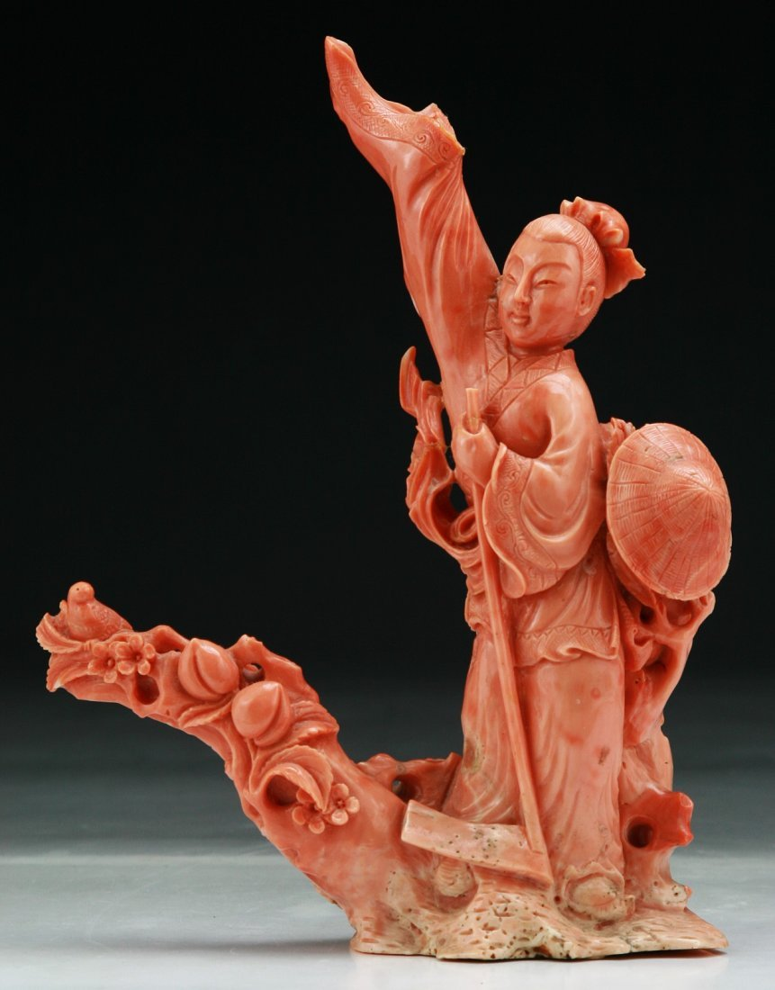 A Chinese Antique Carved Momo Red Coral Figure