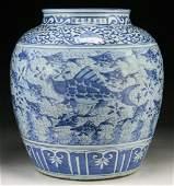 A Massive Chinese Antique Blue & White Porcelain Jar