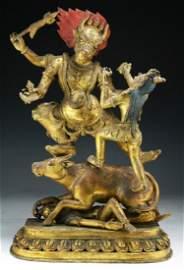A Big & Rare Tibetan Antique Gilt Bronze Yama