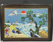 A Fine Chinese Antique Framed Cloisonne On Bronze