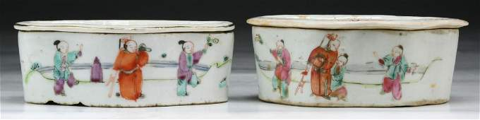 Pair Chinese Antique Famille Rose Porcelain Cricket