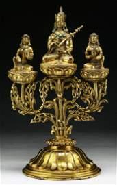 A Tibetan Antique Gilt Bronze Padmasambhava With