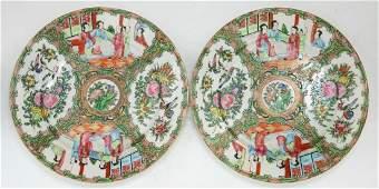 Pair Chinese Rose Medallion Porcelain Plates