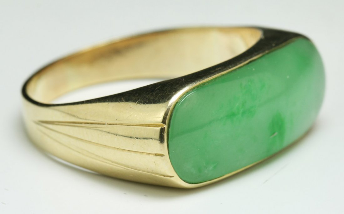 A Jadeite Men's Ring, 14K Gold Mark