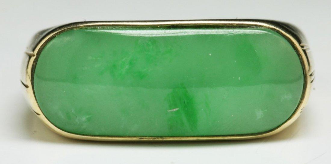 A Jadeite Men's Ring, 14K Gold Mark - 2