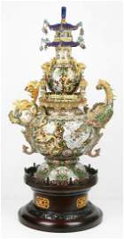 A Massive Chinese Antique Jeweled Cloisonne On Silver