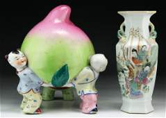 Two (2) Chinese Antique Porcelain Figure Group & Vase