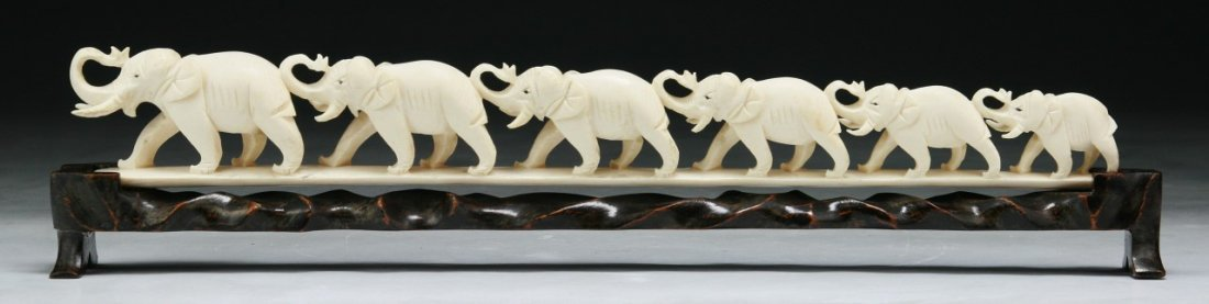 A Chinese Antique Carved Ivory Elephant Group