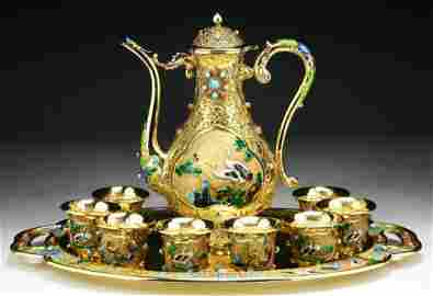 Rare Ten (10) Pieces Chinese Enameled Gilt On Silver &