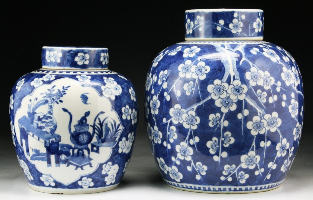 Two (2) Chinese Antique Blue & White Porcelain Jars