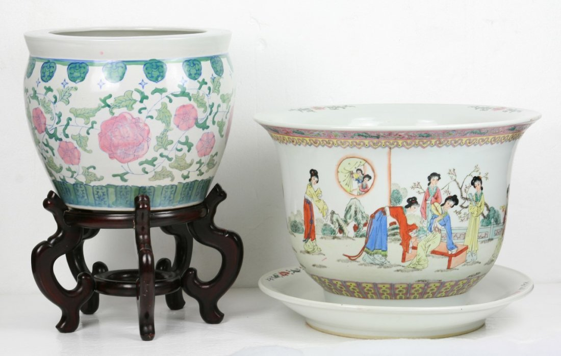 Two (2) Big Chinese Porcelain Tank & Planter