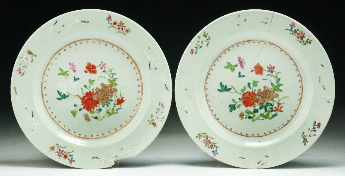 Pair Chinese Antique Famille Rose Porcelain Plates