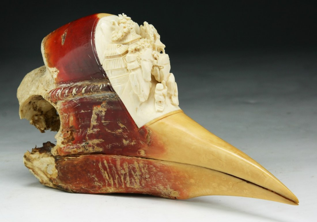 A Chinese Antique Carved Hornbill with Ivory Head
