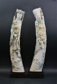 Pair Big Chinese Minguo Ivory Immortals