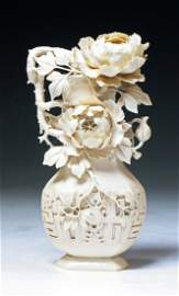 A Fine Chinese Carved Ivory Vase