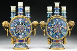Pair Chinese Antique White Jade Cloisonne Candle Holder