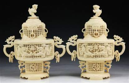Pair Rare And Fine Chinese Antique Ivory Carved Censers