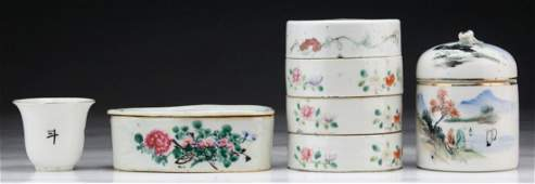 Four4 Chinese Famille Rose Porcelain Boxes Cup