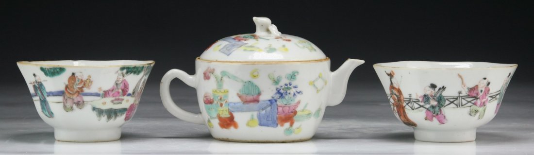 Three (3) Chinese Antique Famille Rose Porcelain Teaset